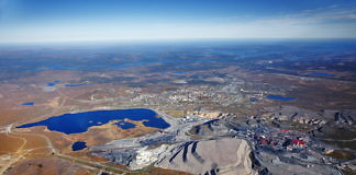 Erzabbau in Kiruna, ein Luftbild aus dem Jahr 2008 (Bild: LKAB)