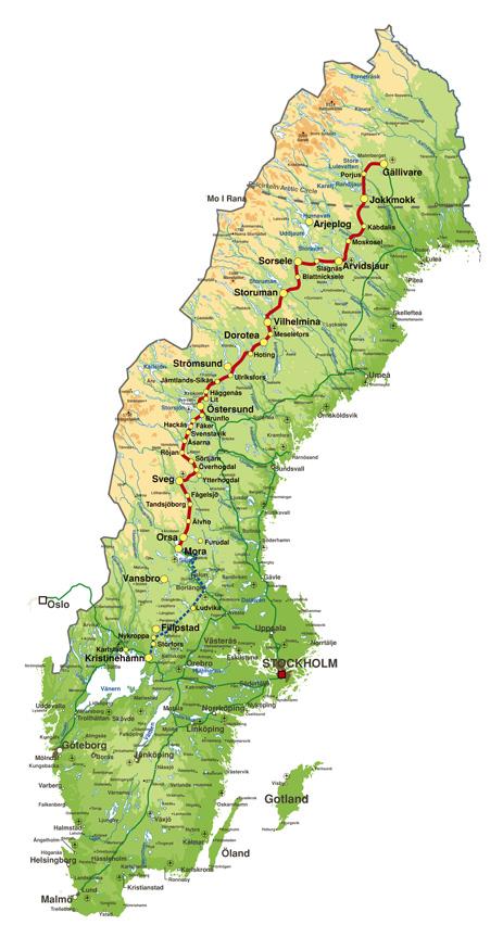 Streckenkarte der Inlandsbanan