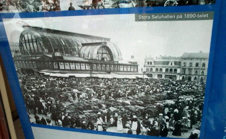 Ein altes Bild der Stora Saluhallen in Göteborg