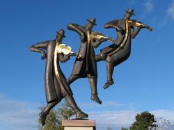 Skulptur auf dem Marktplatz von Rättvik