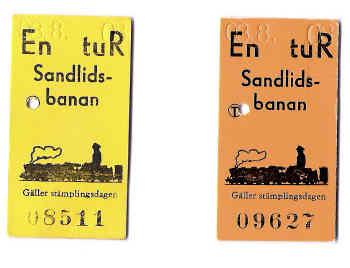 Eisenbahnfahrkarten Sandlidsbanan
