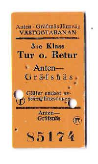 Eisenbahnfahrkarte Anten-Gräfsnäs