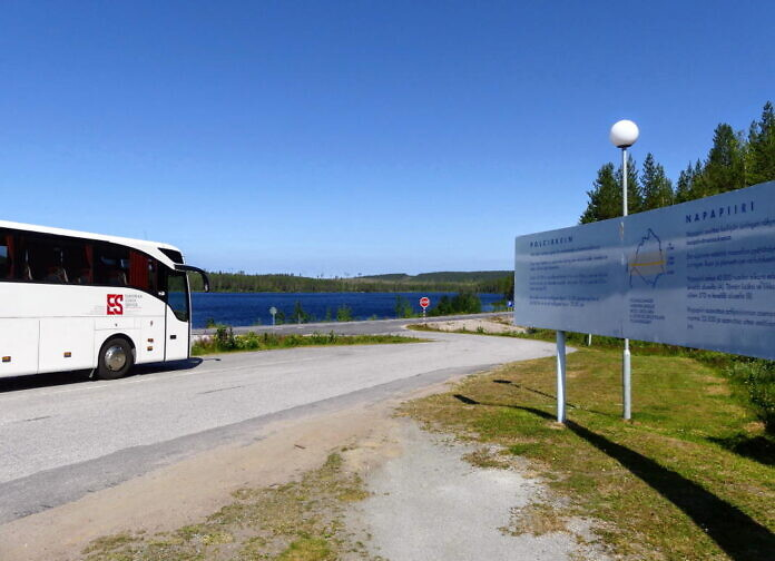 Der Polarkreis - Rastplatz an der E45 südlich von Jokkmokk